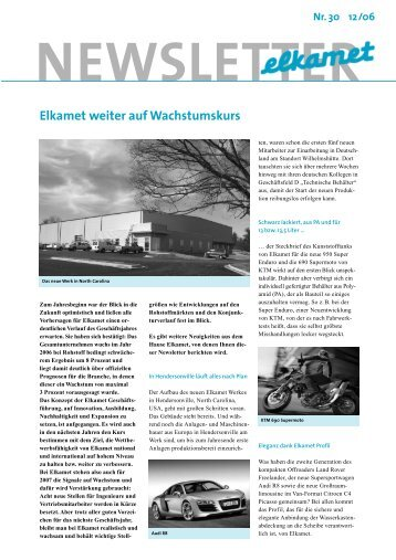 NEWSLETTER Nr.30 12/06 - Elkamet