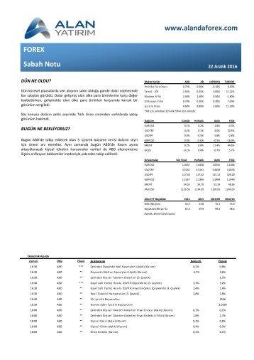 www.alandaforex.com FOREX Sabah Notu