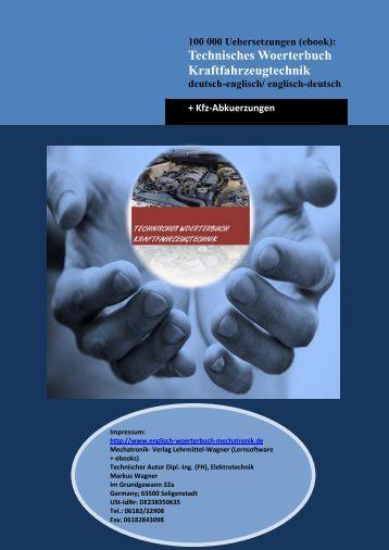 Technisches Woerterbuch Kraftfahrzeugtechnik