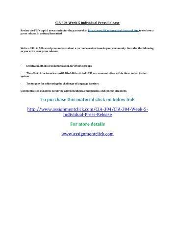 UOP CJA 304 Week 5 Individual Press Release
