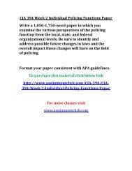 UOP CJA 394 Week 2 Individual Policing Functions Paper