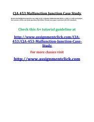 UOP CJA 453 Malfunction Junction Case Study