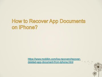 How to Recover App Documents on iPhone?