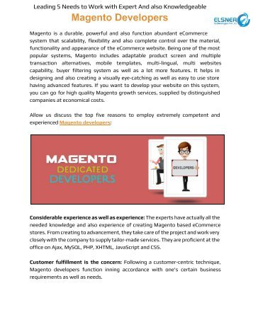 Leading 5 Needs to Work with Expert And also Knowledgeable Magento Developers