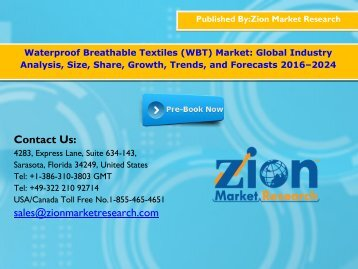 Waterproof Breathable Textiles (WBT) Market, 2016 - 2024
