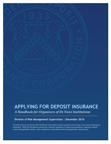 APPLYING FOR DEPOSIT INSURANCE