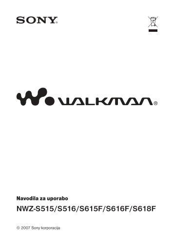 Sony NWZ-S618F - NWZ-S618F Istruzioni per l'uso Sloveno