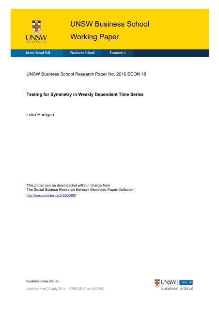 UNSW Business School Working Paper