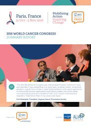 2016 WORLD CANCER CONGRESS SUMMARY REPORT