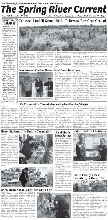 Spring River Current Issue #29, December 23, 2016