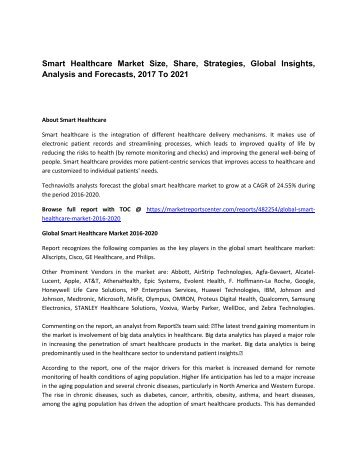 Smart Healthcare Market Size, Share, Analysis and Forecasts, 2017 To 2021