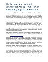 The Various International Educational Packages Which Can Make Studying Abroad Possible
