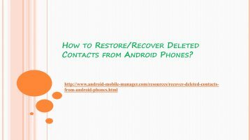 How to Recover Deleted Contacts from Android Phones