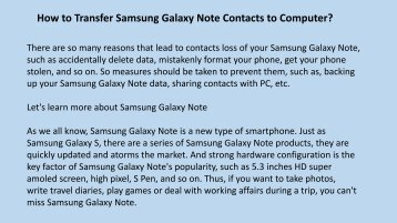 How to Transfer Samsung Galaxy Note Contacts to Computer