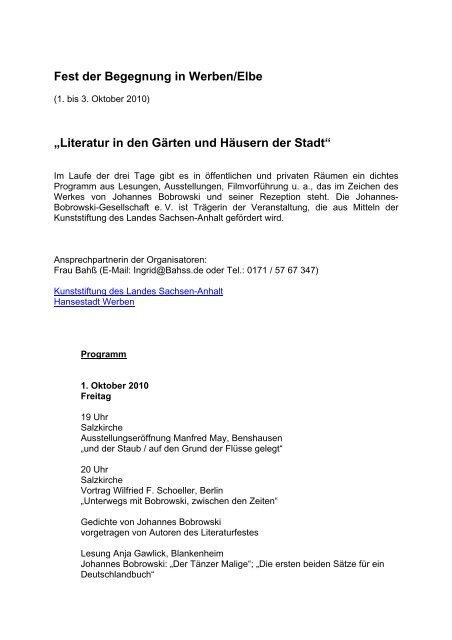 Fest Der Begegnung In Werbenelbe Johannes Bobrowski