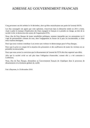 ADRESSE AU GOUVERNEMENT FRANCAIS