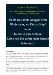 Kostenloses Webinar für mehr Energie-Glück-Lebensfreude