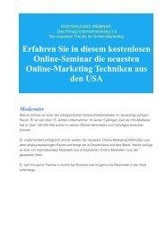 Gratis Online Seminar- Die neuesten Trend im Online Marketing