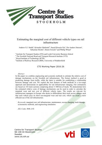 Estimating the marginal cost of different vehicle types on rail infrastructure