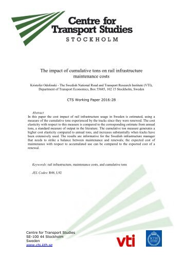 The impact of cumulative tons on rail infrastructure maintenance costs