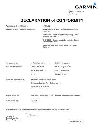 Garmin Declarations of Conformity - Approach S1