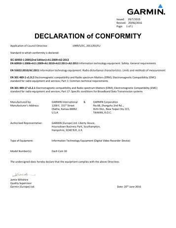 Garmin Declarations of Conformity - Garmin Dash Cam™ 30