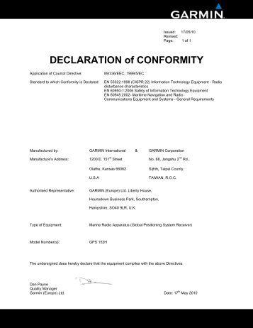 Garmin Declarations of Conformity - GPS 152H