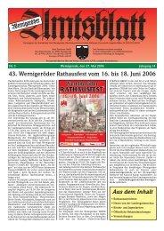 Juni 2006 - Stadt Wernigerode