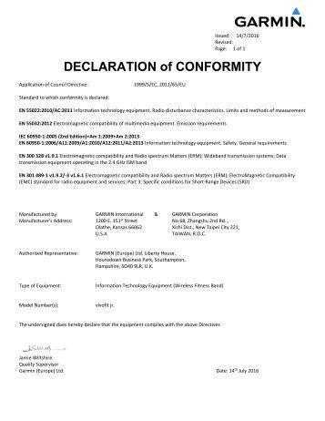 Garmin Declarations of Conformity - vivofit JR