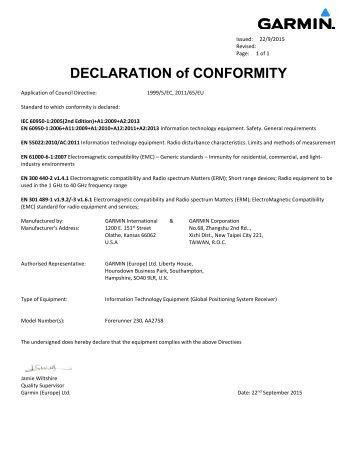 Garmin Declarations of Conformity - Forerunner 230