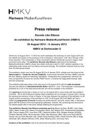 Press release Sounds Like Silence An exhibition by Hartware - HMKV