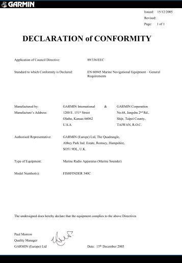 Garmin Declarations of Conformity - Fishfinder 340C