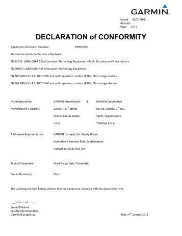 Garmin Declarations of Conformity - chirp™