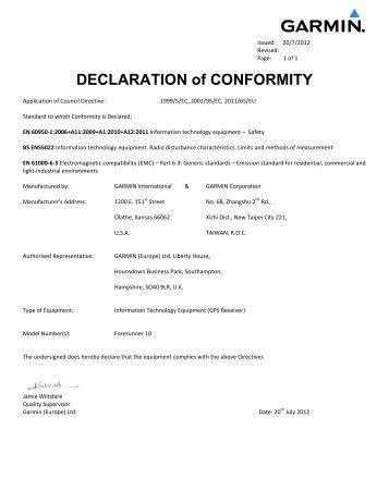 Garmin Declarations of Conformity - Forerunner 10