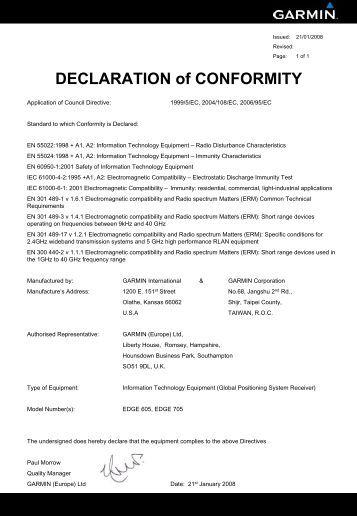Garmin Declarations of Conformity - Edge 605/705