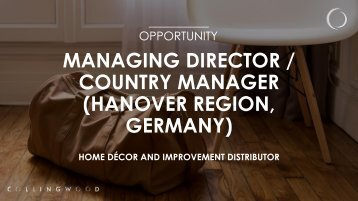 COUNTRY MANAGER (HANOVER REGION GERMANY)