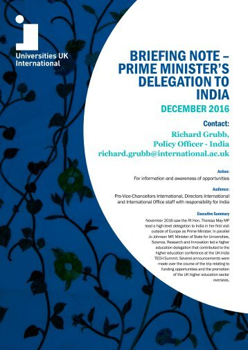 PRIME MINISTER'S DELEGATION TO INDIA
