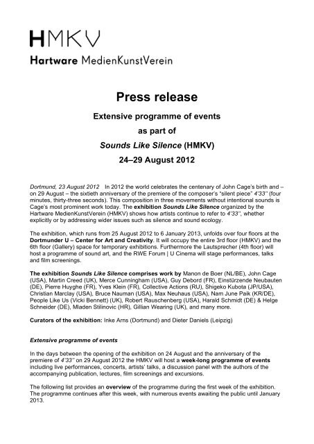 Press release Extensive programme of events as part of