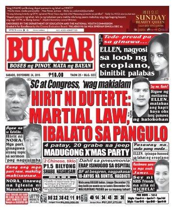 December 24, 2016 BULGAR: BOSES NG PINOY, MATA NG BAYAN