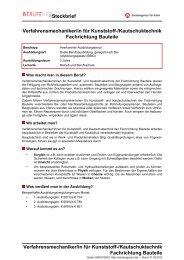 Steckbrief Verfahrensmechaniker/in für Kunststoff ... - Planet Beruf.de