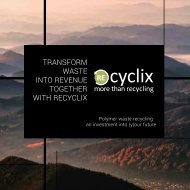 TRANSFORM WASTE INTO REVENUE TOGETHER WITH RECYCLIX