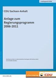 CDU Sachsen-Anhalt Anlage zum Regierungsprogramm 2006-2011