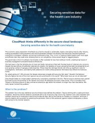 Securing sensitive data for the health care industry