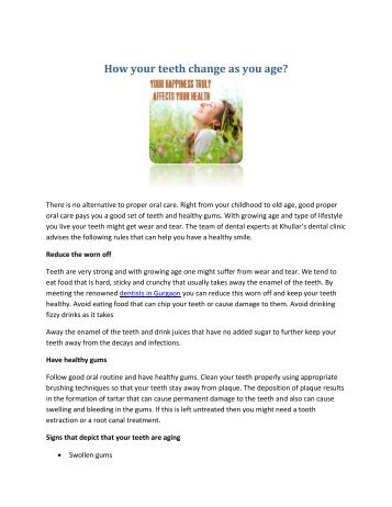 Dentists In Gurgaon - How your teeth change as you age