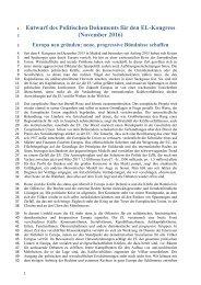 Entwurf des Politischen Dokuments für den EL-Kongress (November 2016)