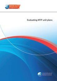 Evaluating MYP unit plans