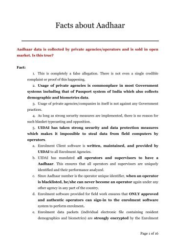 Facts about Aadhaar