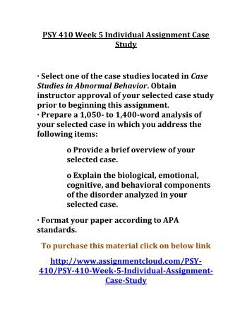 Case study in abnormal psychology essay | College paper