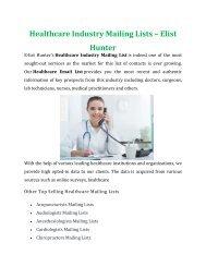 Healthcare Industry Mailing Lists - Elist Hunter