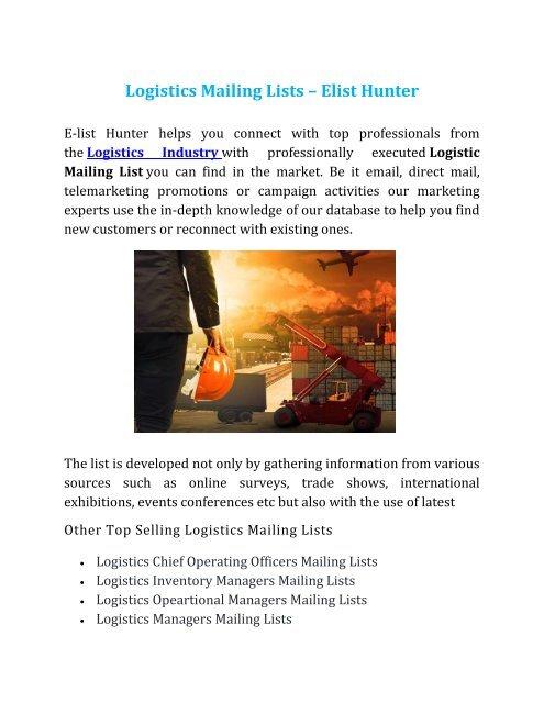 Logistics Mailing Lists
